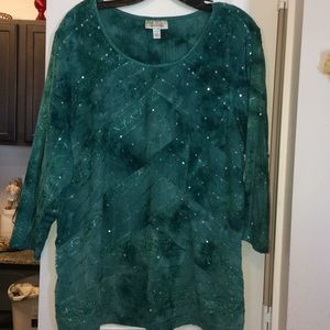 Multi depth green sequined shirt.